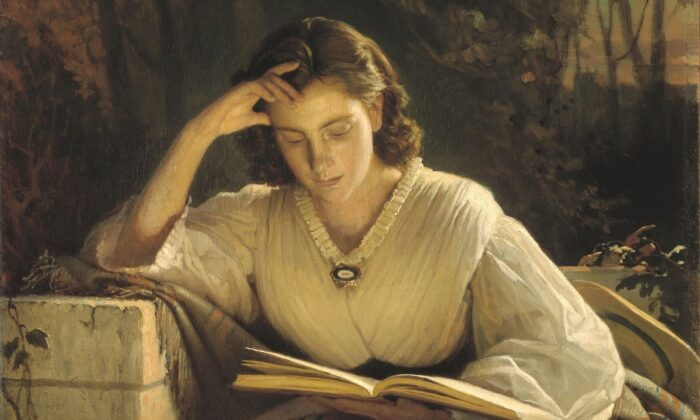 """Reading Woman,"" after 1866, by Ivan Kramskoy. Oil on canvas. Tretyakov Gallery. (Public Domain)"