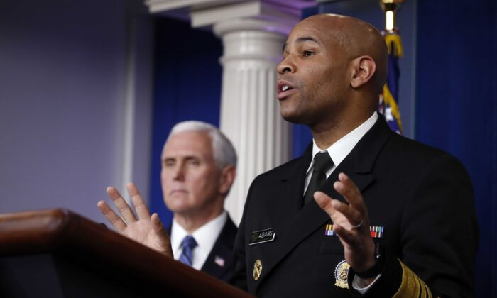 U.S. Surgeon General Jerome Adams speaks about the coronavirus in the James Brady Press Briefing Room of the White House in Washington on April 3, 2020. (Alex Brandon/AP Photo)