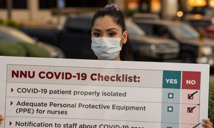 A nurse holds a sign during a demonstration in El Paso, Texas, on April 1, 2020. Gov. Abbott banned most abortions out of concern that all medical resources be used to fight COVID-19. (Paul Ratje/AFP via Getty Images)