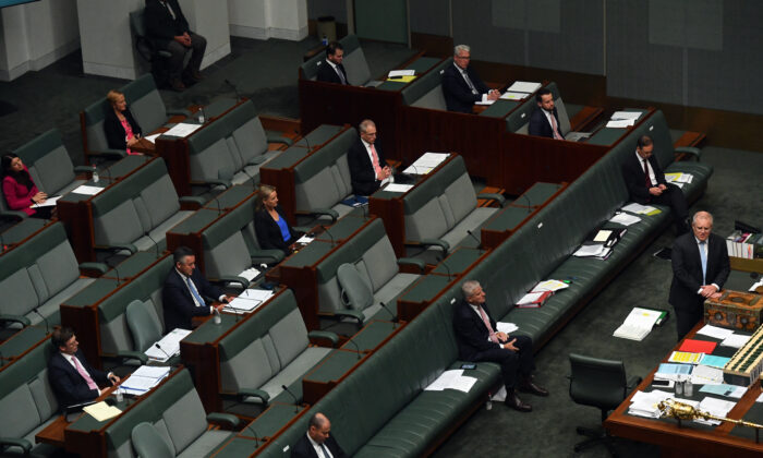 Australian Prime Minister Scott Morrison speaks at the despatch box during Question Time in the House of Representatives at Parliament House in Canberra, Australia, on April 8, 2020. (Sam Mooy/Getty Images)