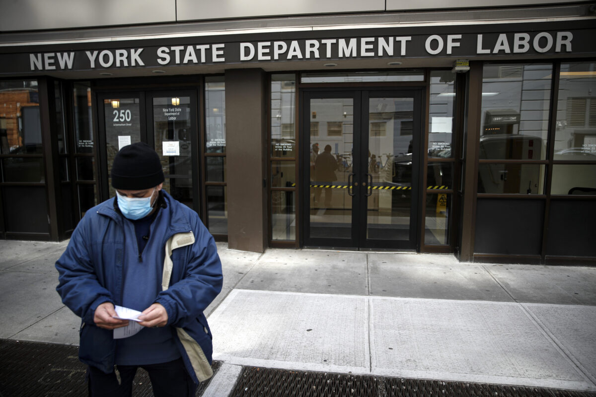 Visitors to the New York State Department of Labor