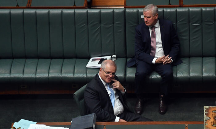 Prime Minister Scott Morrison (front) in the House of Representatives on April 8, 2020 in Canberra, Australia. (Sam Mooy/Getty Images)