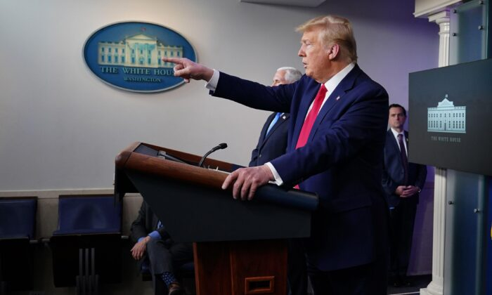 President Donald Trump at the daily briefing on the CCP virus in the Brady Briefing Room at the White House on April 6, 2020. (Mandel Ngan/AFP via Getty Images)