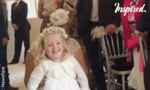 Little Girl Walks For The First Time At Mother's Wedding