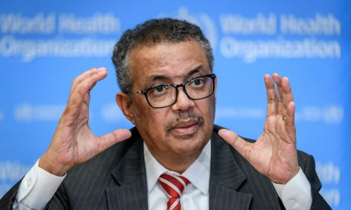 World Health Organization (WHO) Director-General Tedros Adhanom Ghebreyesus attends a daily press briefing on COVID-19 at the WHO headquarters in Geneva on March 11, 2020. (FABRICE COFFRINI/AFP via Getty Images)