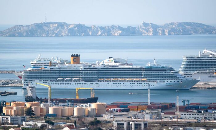 The trans-Atlantic cruise ship Costa Luminosa is moored at Marseille harbour, France, on March 20, 2020. (Clement Mahoudeau/AFP via Getty Images)