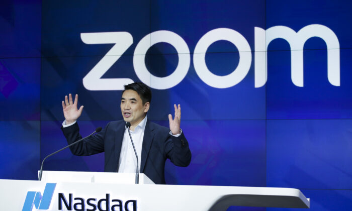 Zoom founder Eric Yuan speaks before the Nasdaq opening bell ceremony in New York City on April 18, 2019. (Kena Betancur/Getty Images)
