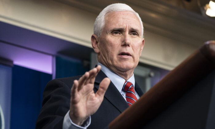 Vice President Mike Pence speaks at a press briefing with members of the White House Coronavirus Task Force in Washington on April 5, 2020. (Sarah Silbiger/Getty Images)