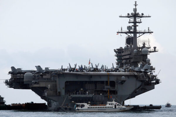 The aircraft carrier Theodore Roosevelt (CVN-71) is seen while entering into the port in Da Nang