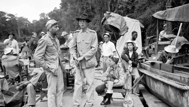 The African Queen-Bogart and Huston on set