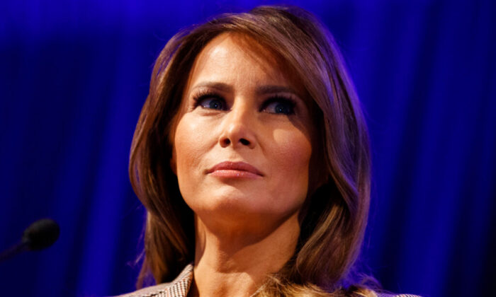 First Lady Melania Trump pauses as she speaks at the at the National PTA Legislative Conference in Alexandria, Va., on March, 10, 2020. (Carolyn Kaster/AP Photo)