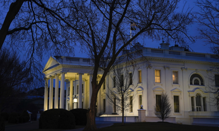 The White House stands at dusk in Washington on Feb. 5, 2020. (Drew Angerer/Getty Images)