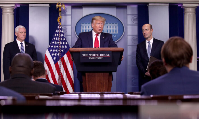 President Donald Trump speaks during the daily CCP virus briefing in the Brady Press Briefing Room at the White House in Washington on April 09, 2020. (Alex Wong/Getty Images)