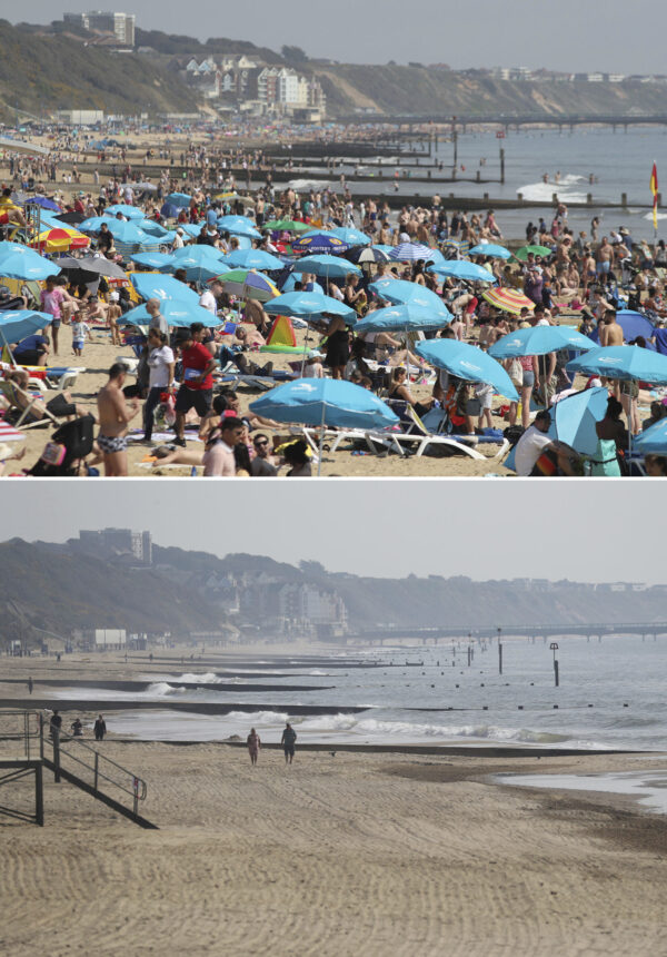 Bournemouth beach, England on Easter bank holidays before and during lockdown