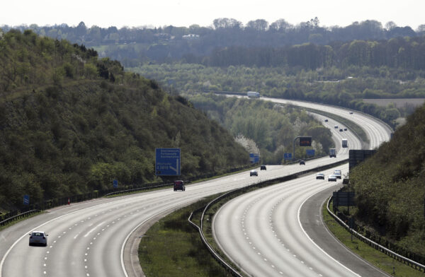 The almost empty M3 motorway, that would normally carry thousands of holiday makers for this long holiday weekend, near to Winchester, England, on April 10, 2020.