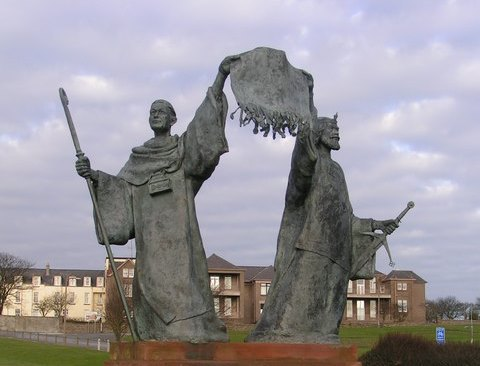 """Memorial for the Declaration of Arbroath, with a 1320 letter submitted to Pope John XXII, held by Bernard, Abbot of Arbroath,  and Robert the Bruce"""", King of Scots,  in Grampian Gardens, Arbroath, Scotland. (Karen Vernon/CC BY-SA 2.0)"""