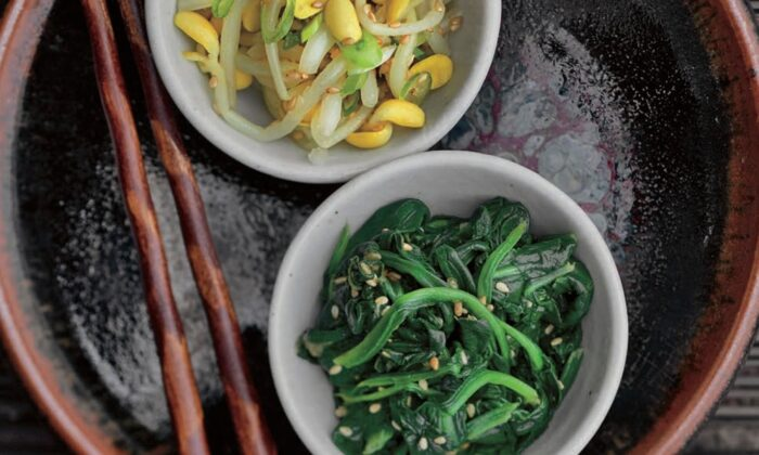 Kong namul, seasoned soybean sprouts, and sigeumchi namul, seasoned spinach. (Jean Cazals/Korean Food Made Simple)