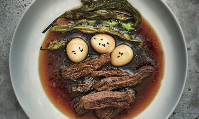 Jangjorim, soy-braised beef strips with quail eggs. (Jean Cazals/Korean Food Made Simple)