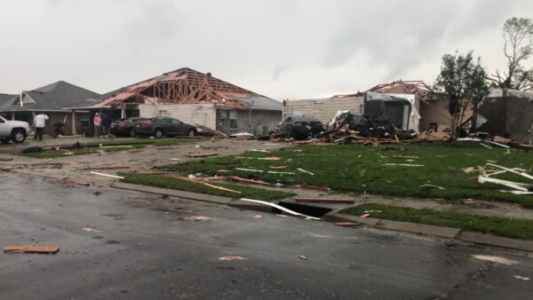 Destroyed homes in the wake of a tornado