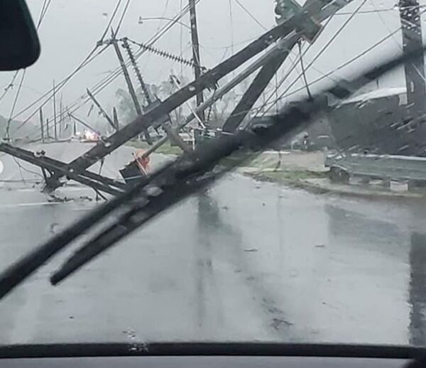 Power lines storm damage