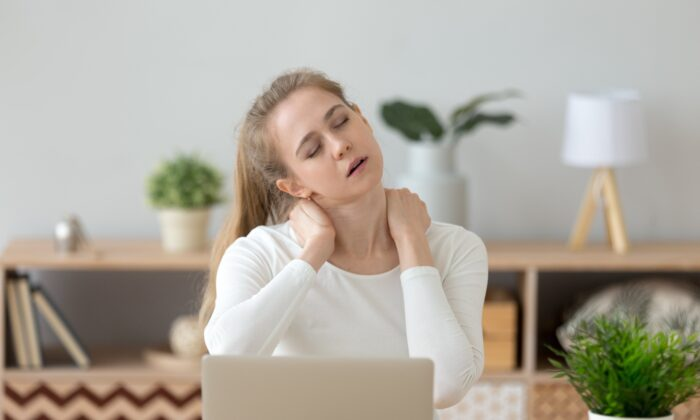 The trapezius muscles at the top of your shoulders are a frequent spot for muscle knots, a by-product of too much computer time or too much stress. (fizkes/Shutterstock)