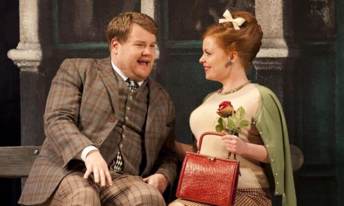 "Francis Henshall (James Corden) falls for Dolly (Suzie Toase) in the hilarious ""One Man, Two Guvnors."""