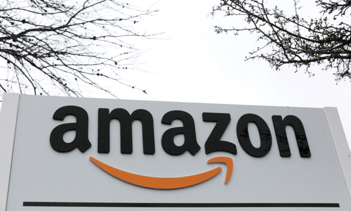 Signage at an Amazon facility in Bethpage on Long Island in New York on March 17, 2020. (Andrew Kelly/Reuters)