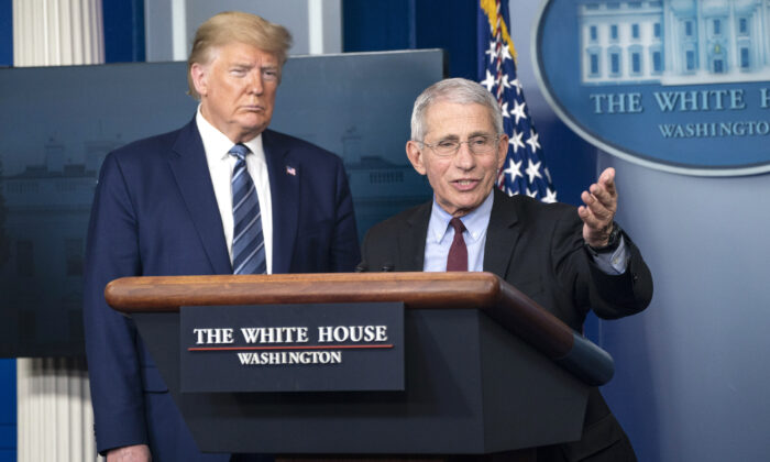 Anthony Fauci, director of the National Institute of Allergy and Infectious Diseases, speaks alongside President Donald Trump at a press briefing with members of the White House Coronavirus Task Force in Washington, on April 5, 2020. (Sarah Silbiger/Getty Images)