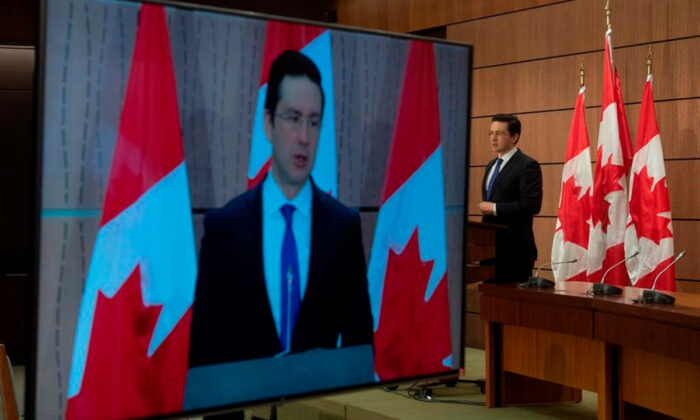 Conservative MP Pierre Poilievre speaks during a news conference in Ottawa, on April 13, 2020. (Adrian Wyld/The Canadian Press)