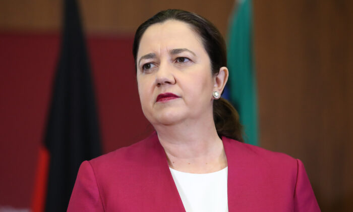 Queensland Premier Annastacia Palaszczuk attends a press conference at parliament house in Brisbane, Australia, on March 25, 2020. (Jono Searle/Getty Images)