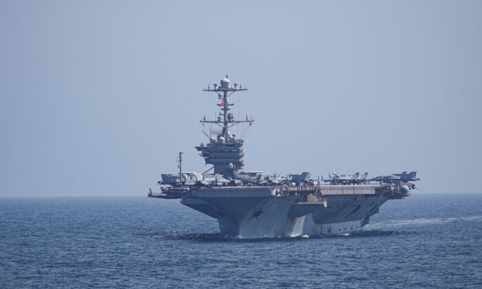 The aircraft carrier USS Harry S. Truman transiting the Arabian Sea on March 18, 2020. (U.S. Navy photo by Aircrew Survival Equipmentman 1st Class Brandon C. Cole)