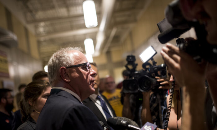 Then-candidate for Minnesota Gov. Tim Walz speaks to media in St. Paul, Minn., on Aug. 14, 2018. (Stephen Maturen/Getty Images)