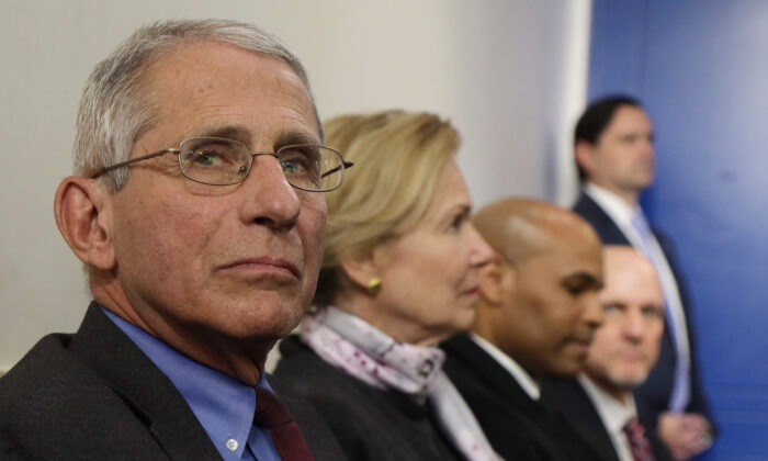 Dr. Anthony Fauci, director of the National Institute of Allergy and Infectious Diseases, attends the daily briefing of the Coronavirus Task Force at the White House in Washington on April 10, 2020. (Alex Wong/Getty Images)