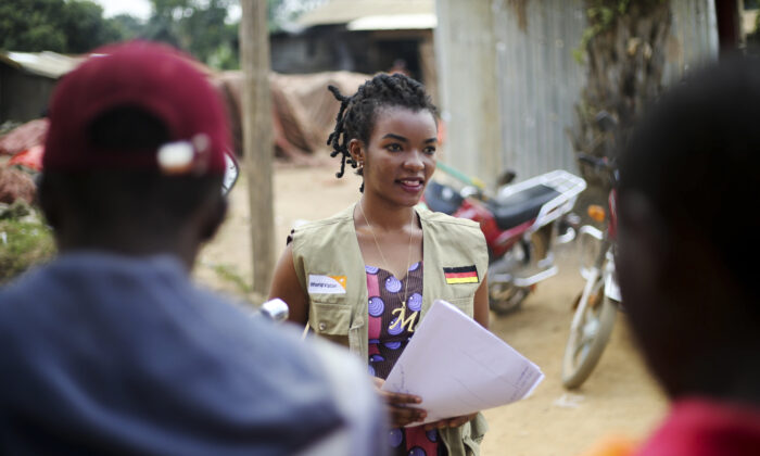 Martine Milonde, a Congolese community mobilizer who works with the aid group World Vision in Beni, eastern Congo on April 10, 2020. (Al-hadji Kudra Maliro/AP)