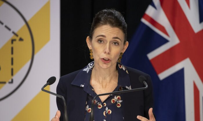Prime Minister Jacinda Ardern during the update on the All of Government COVID-19 National Response at Parliament in Wellington, New Zealand, on April 13, 2020. (Mark Mitchelll-Pool/Getty Images)