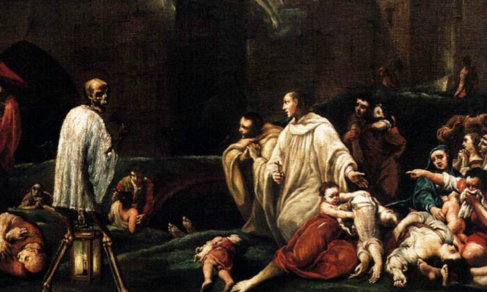 """""""The Blessed Bernardo Tolomeo's Intercession for the End of the Plague in Siena"""" by Giuseppe Maria Crespi, 1735 (detail). (Public domain)"""