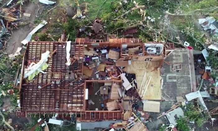 Drone video shows leveled homes and uprooted trees in Soso, Miss., on April 13, 2020. (Courtesy of SevereStudios-Humphress/Peake)