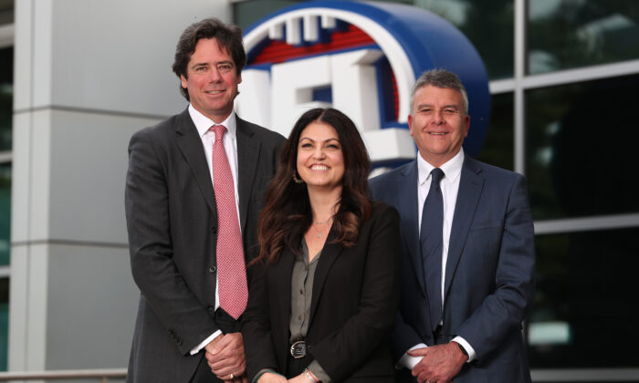 MELBOURNE, AUSTRALIA - NOVEMBER 21: (L-R) Gillon McLachlan, Chief Executive Officer of the AFL, Dr Kate Hall, AFL Head of Mental Health and Wellbeing and Lifeline Australia Chief Executive Officer Colin Seery  on November 21, 2019 in Melbourne, Australia. (Photo by Michael Willson/AFL Photos via Getty Images)