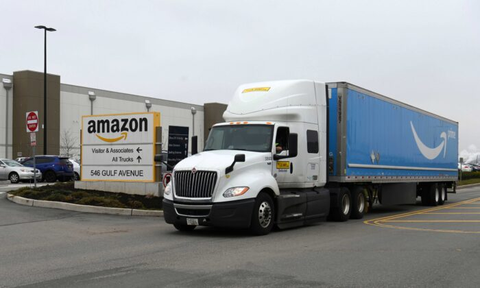 A truck is seen outside the Amazon warehouse in Staten Island in New York on March 30, 2020. (Angela Weiss/AFP via Getty Images)