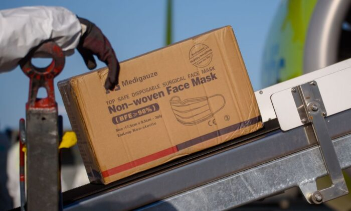 Boxes of medical supplies arrived from China at Riga International Airport, Latvia, on April 10, 2020. (Gints Ivuskans/AFP via Getty Images)
