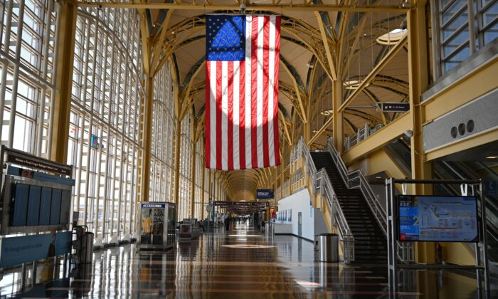 A view of empty Washington National Airport (DCA) in Arlington, Va., on April 11, 2020. (Daniel Slim/AFP via Getty Images)