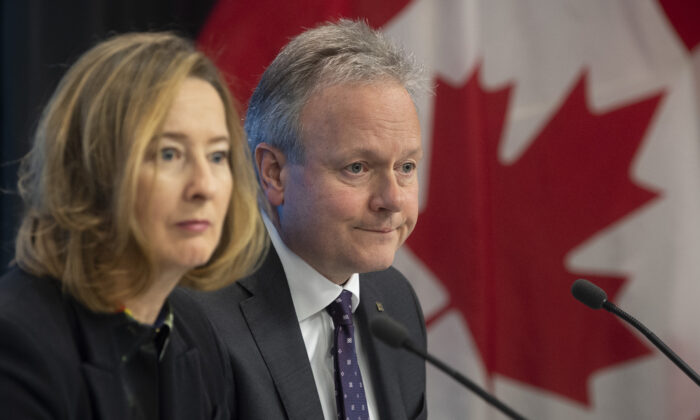Bank of Canada governor Stephen Poloz and senior deputy governor Carolyn Wilkins listen to a question during a news conference in Ottawa on Jan. 22, 2020. (The Canadian Press/Adrian Wyld)