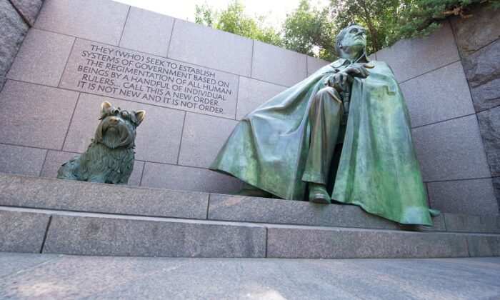 A statue of Franklin Delano Roosevelt and his dog Fala are seen at the FDR Memorial in Washington on Sept. 20, 2012. (Karen Bleier/AFP via Getty Images)