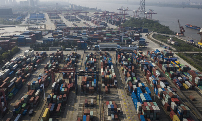 A drone view of Yangluo Port in Wuhan, Hubei Province, China, on April 12, 2020. (Getty Images)