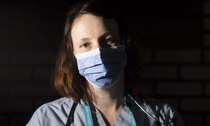 Registered nurse Zoe Manarangi Bake-Paterson is photographed at St. Paul's hospital in downtown Vancouver B.C., Canada, on April 2, 2020. (Jonathan Hayward/The Canadian Press)