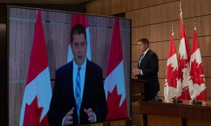 Leader of the Opposition Andrew Scheer speaks during a news conference in Ottawa, Tuesday April 14, 2020. (Adrian Wyld/ The Canadian Press)