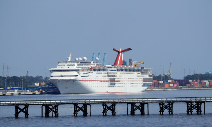 Carnival Cruise Line's Carnival Ecstacy cruise ship is docked at the Port of Jacksonville amid the CCP virus outbreak in Jacksonville, Florida, on March 27, 2020. (Greenwood/Getty Images)
