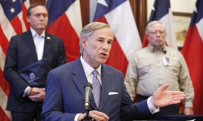 Texas Governor Greg Abbott during a press conference at the state capitol in Austin, Texas, on March 29, 2020. (Tom Fox-Pool/Getty Images)