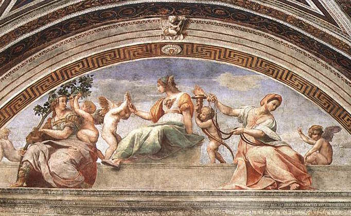 """The fresco """"Cardinal and Theological Virtues"""" by Raphael, 1511. The three women represent charity, prudence, and faith. (Public domain)"""