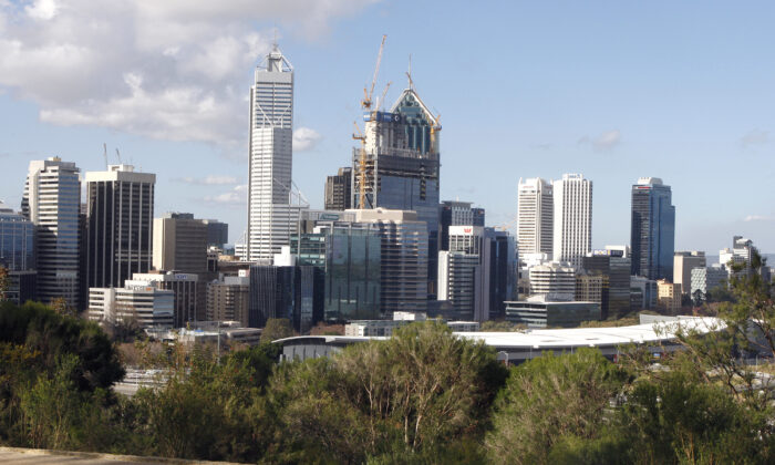 This photo taken on August 5, 2010 shows the Perth central business district skyline viewed from King's Park.  (TONY ASHBY/AFP via Getty Images)